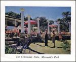Post Card showing the patio at Mermaids pool.
